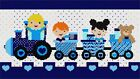 Kids Heart Train Blue Needlepoint Kit or Canvas (Valentine)