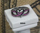 Ladies Black Rhodium Sterling Silver Pink Sapphire Heart Infinity Promise Ring