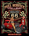 Full Service with a Smile Route 66 Hot Rod with Babe T-Shirt Sz MED CLOSEOUT