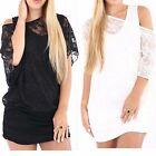 Ladies Fishnet Novelty Fancy Baggy Batwing Top Womens Mesh Insert Full Lace Vest