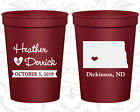 Personalized Wedding Plastic Cups Custom Cup (133) North Dakota Wedding Favors