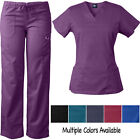 Medgear Women's Stretch Scrubs Set, Sporty V-neck Top & Multi-pocket Pants 7895