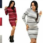 Glamour Empire. Women's Knitted Stretchy Warm Jumper Dress Stripes Design. 012