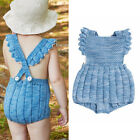 Newborn Baby Girl Pure Cotton Knitted Baby Romper One Piece Outfit Fit 3 Seasons