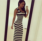 US 2017 Women Maxi Sundress Party Beach Sleeveless Vest Strips Casual Long Dress
