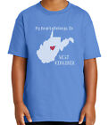 I love West Virginia Kid's T-shirt WV Map Heart Patriotic Tee for Youth - 1691C