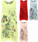 Plus Womens Chiffon Lined Dress Top Ladies Sleeveless Floral Butterfly Print New