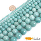 "Natural AAA Grade Blue Amazonite Gemstone Round Beads For Jewelry Making 15"" YB"