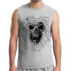 Gothic Scary Cobweb and Skull Men's Sleeveless Black Widow Muscle Tee - 1373C
