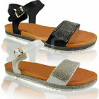 NEW WOMENS LADIES FLAT LOW DIAMANTE WEDGE PLATFORM SUMMER SANDALS SHOES SIZE