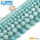 Natural Grade AAA Blue Amazonite Gemstone Round Beads Free Shipping Strand 15""