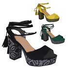 New Womens Ladies Tribal Block Heel Lace Ankle Strap Summer Sandal