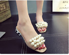 Holiday Beach Pearl Studded Flip Flops Hollow Low Heel Square Toe Slip On Sandal