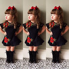 UK Stock Toddler Kids Baby Girls 3D Flower Summer Party Dress Sundress Clothes