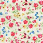 EMILY - ROSE PINK ON CREAM  VINTAGE FLORAL 100% COTTON FABRIC