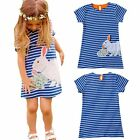 Summer Girl's Striped Animal Printed Pure Cotton Dresses Short Sleeve 2-6 Years