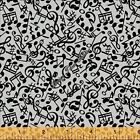 """WINDHAM """"THREE QUARTER TIME"""" 41062-3 TOSSED MUSIC NOTES FABRIC (SELECT)"""