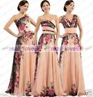 3 Type Flower Printed Formal Evening Party Ball Gown Bridesmaid Wedding Dresses