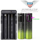 12x 18650 Battery 3.7V Li-ion Rechargeable+Charger For Flashlight Headlamp Torch