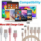 1M/2M/3M Braided Aluminum Micro USB Data & Sync Faster Charger Cable For Samsung