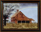 HIS PROMISE by Billy Jacobs 15x19 FRAMED PICTURE Rainbow Red Barn Rain Showers