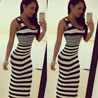 Sexy Women Striped Long Dress Ladies Sleeveless Bodycon Beach Party Casual Dress