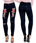 NEW Womens High Waisted Floral Applique Skinny Jeans Ladies Size 6 8 10 12 14