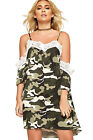 Womens Camouflage Print Strappy Cold Shoulder Lace Dress Ladies Short Sleeve New