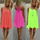 New Women Summer Casual Sleeveless Evening Party Beach Dress Short Mini Dress HX