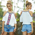 2017 New Summer Ethnic Style Off Shoulder Loose Chiffon Cool T-shirts Tops S-5XL