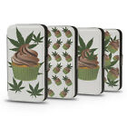 MARIJUANA SPACE CAKES DESIGN PU LEATHER WALLET FLIP CASE COVER FOR IPHONE