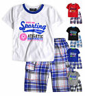 Boys T-Shirt Short Set New Kids Short Sleeved Top Check Shorts Ages 4 - 5 Years
