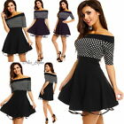 Retro Punkte Rockabilly Pin Up Petticoat Kleid Dots Schulterfrei*S M L-36 38 40