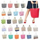 Ladies Canvas / Straw Beach Shoulder Bag Summer Holiday Tote Shopping Handbag