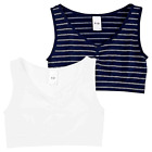 Active Sports Girls 2 Set Crop Top Seemfree Stretchy Navy White Striped  - White