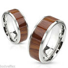 COOL MENS WOMENS STAINLESS STEEL ROSE WOOD PRINT CENTER INLAY WEDDING BAND RING