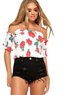 Womens Shirring Off Shoulder Short Sleeve Floral Crop Top Ladies Bardot Frill