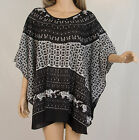 Printed Black summer Tunic Poncho top oversized blouse XL-2XL-3XL ibiza boho V46