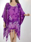 Print Tunic top oversized blouse kaftan summer XL-2XL-3XL ibiza Purple V51