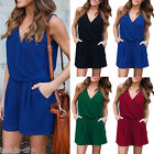 Fashion Sexy Womens Sleeveless V-neck Solid Short Pants Summer Casual Jumpsuit