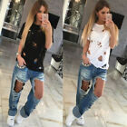 Beggar Ripped Distressed Burning Flower Women Short Sleeve T Shirt Top Blouse
