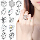 15 Styles Women's Silver Plated Flower Diamante Rings Wedding Engagement Jewelry