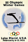 Olympic Winter Games 1932 Lake Placid Ski New York Vintage Poster Repro FREE SH