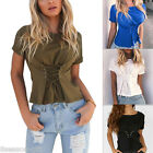 2017 New Fashion Casual Bandage Short Sleeve T-shirt Solid Blouse Tops HX