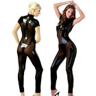 Body Zip Overall Jumpsuit Catsuit offen Wetlook Glanz schwarz XS S M L XL Damen