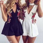 Sexy Oversize Womens V-neck Embroidery Rose Sleeveless Jumpsuit Short Pant Suit