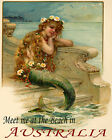 POSTER MERMAID MEET ME AT THE BEACH IN AUSTRALIA TRAVEL VINTAGE REPRO FREE S/H