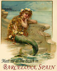POSTER MERMAID MEET AT THE BEACH BARCELONA SPAIN TRAVEL VINTAGE REPRO FREE S/H