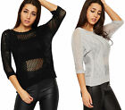 Womens Crochet Knitted Top Ladies Lace Short Sleeve Stretch Plain Round Neck