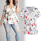 HOT Plus Size Womens Floral Print Short Sleeve Ladies Casual Tops T-Shirt Blouse